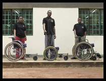 Mobililty care team with different models of wheelchair